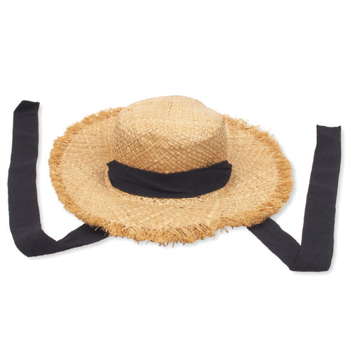 Raw Edge Straw Hat, natural