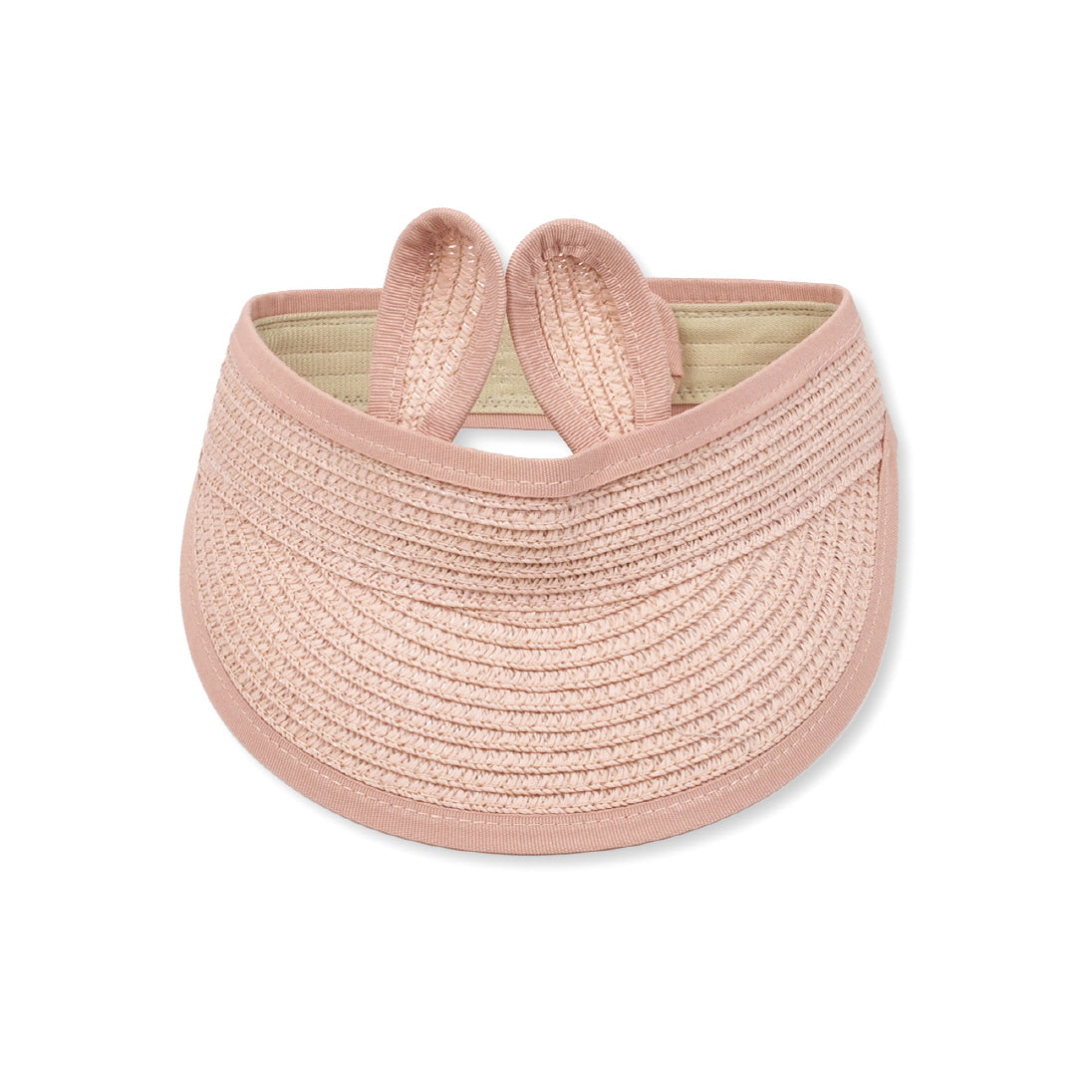 Packable Straw Sun Visor, pink