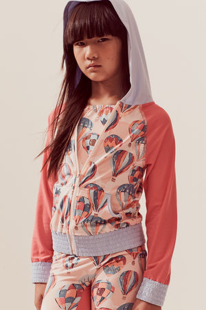 Hot Air Balloons Hooded Zip-up Rash Guard, peach