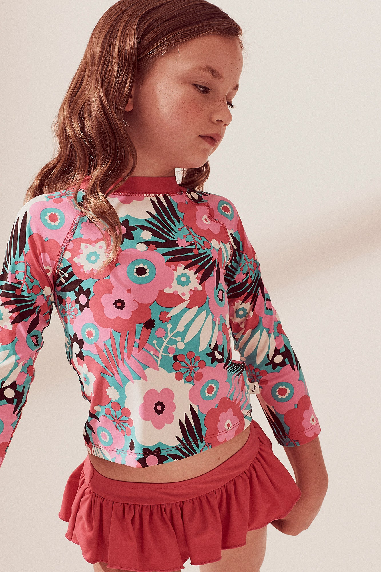 Vintage Floral Raglan Long Sleeve Rash Guard Set, hot pink