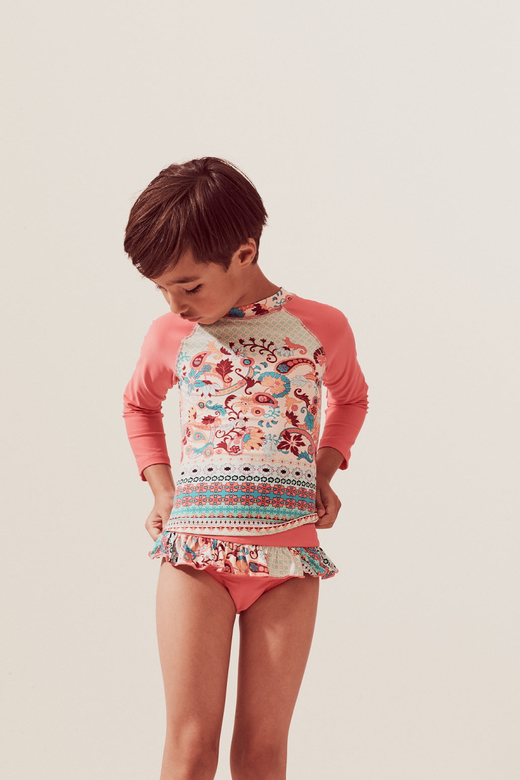 Paisley Border Raglan Long Sleeve Rash Guard Set, coral