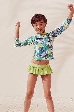 Forest Elephants Raglan Long Sleeve Rash Guard Set, lime