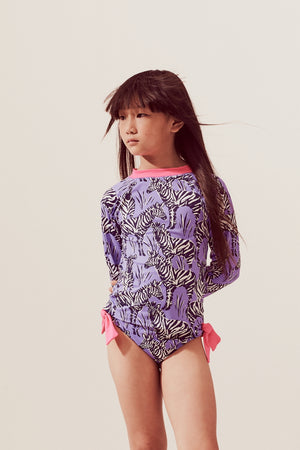 Zebras Raglan Long Sleeve Rash Guard Set, lavender