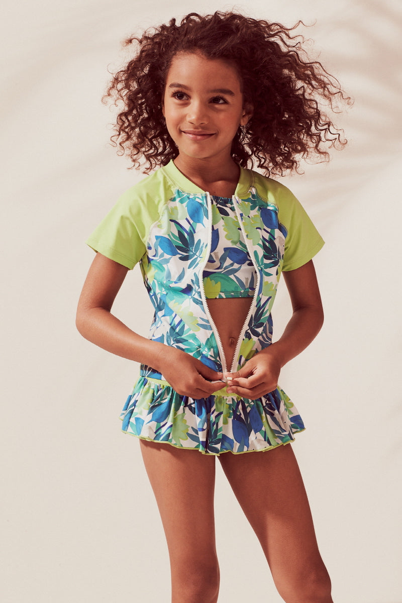 Forest Elephants Crop Bikini & Short Sleeve Rash Guard 3-pc Set, lime
