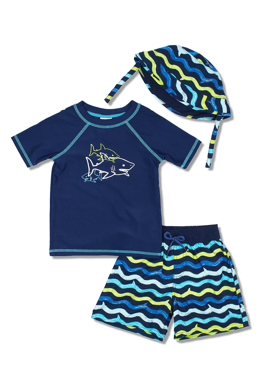 Boys Shark Wave Short Sleeve Rash Guard & Swim Trunks With Bucket Hat 3pc Set, Navy