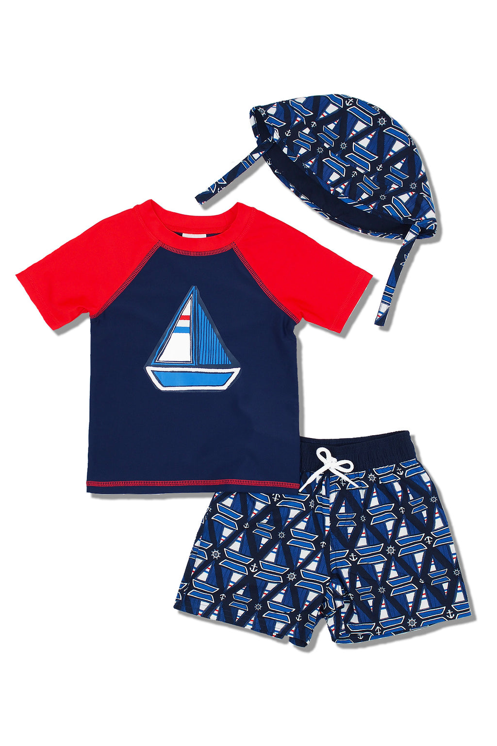 Boys Sailboat Geo Short Sleeve Rash Guard & Swim Trunks With Bucket Hat 3pc Set, Navy