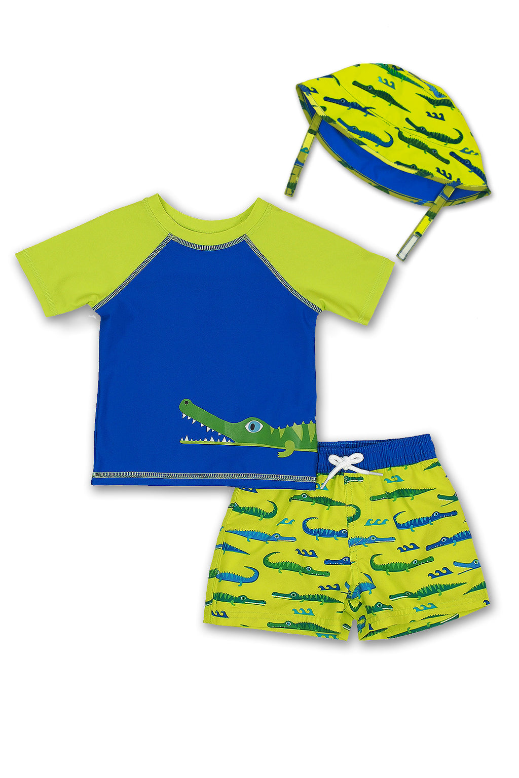 Boys Crocodile Short Sleeve Rash Guard & Swim Trunks With Bucket Hat 3pc Set, Lime