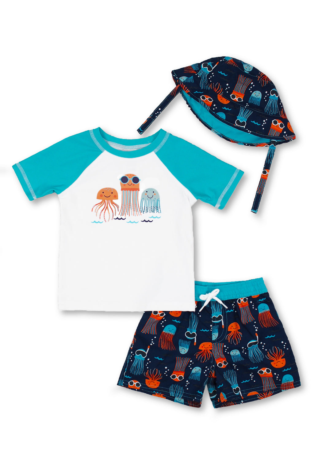 Boys Jellyfish Short Sleeve Rash Guard & Swim Trunks With Bucket Hat 3pc Set, Turq