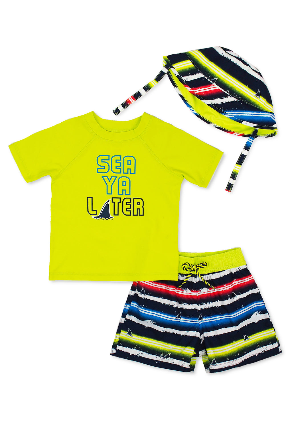 Boys Sea Ya Later Shark Short Sleeve Rash Guard & Swim Trunks With Bucket Hat 3pc Set, Green