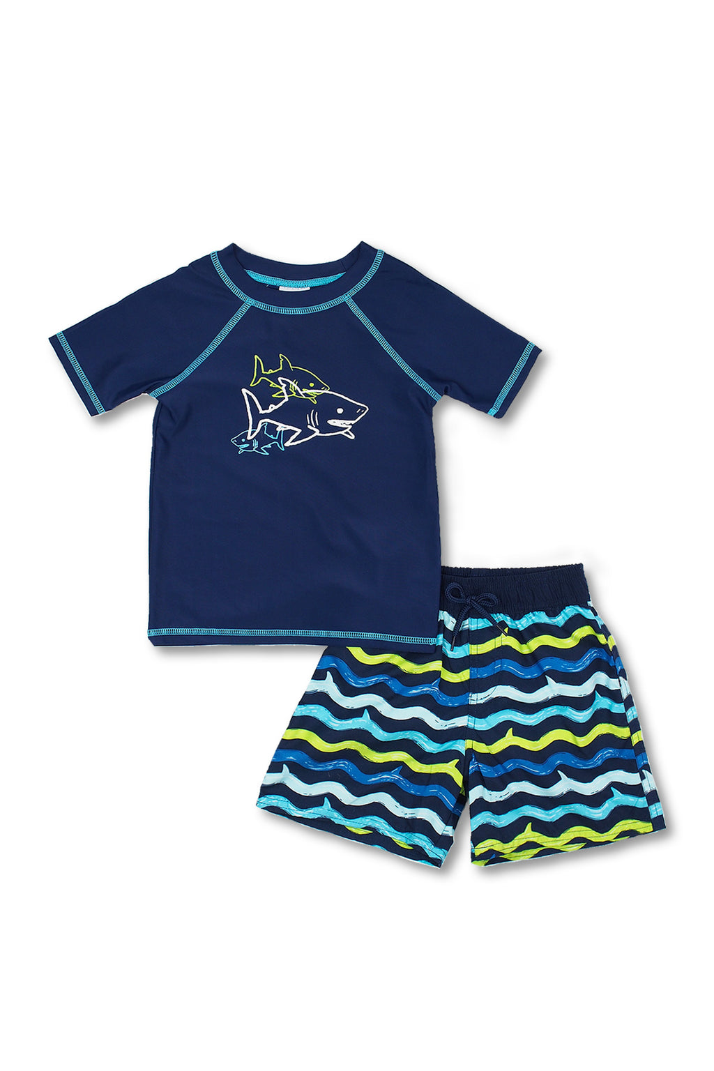 Boys Shark Wave Short Sleeve Rash Guard Set, Navy