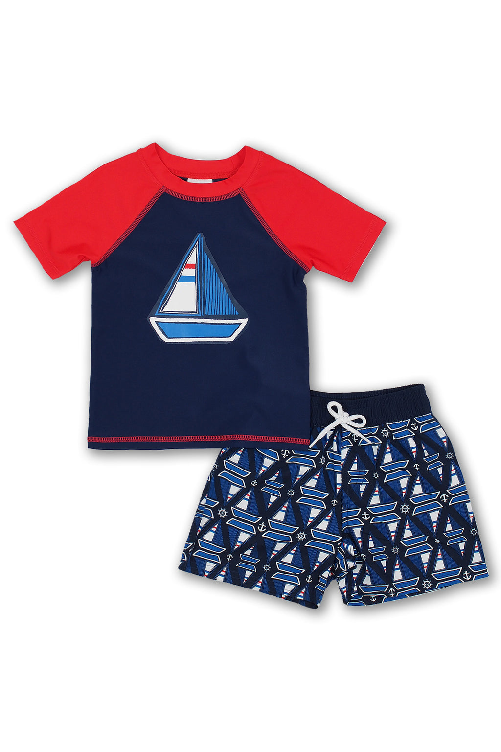 Boys Sailboat Geo Short Sleeve Rash Guard Set, Navy