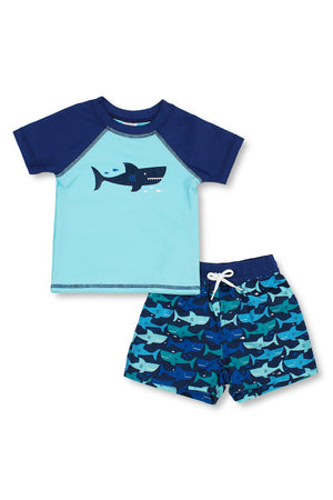 Boys Happy Shark Short Sleeve Rash Guard Set, Blue