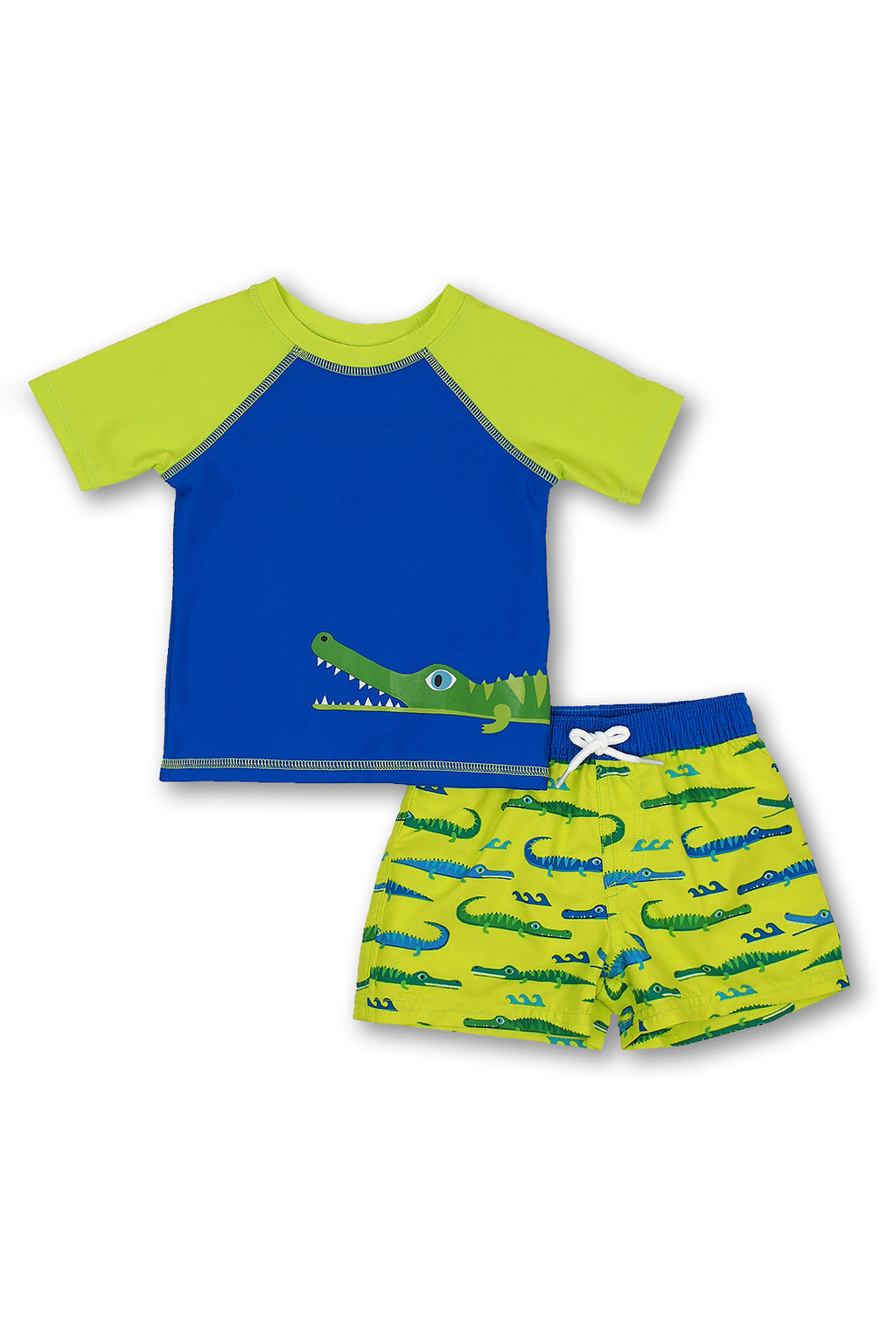 Boys Crocodile Short Sleeve Rash Guard Set, Lime