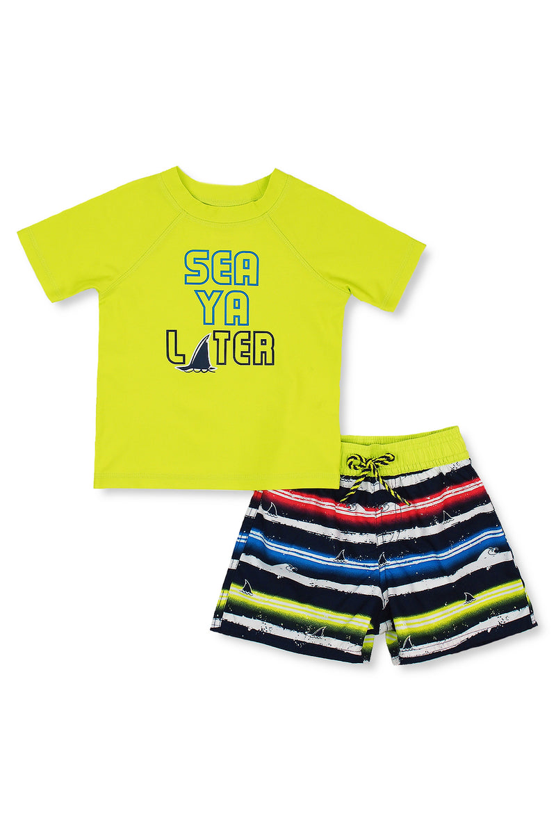 Boys Sea Ya Later Shark Short Sleeve Rash Guard Set, Green