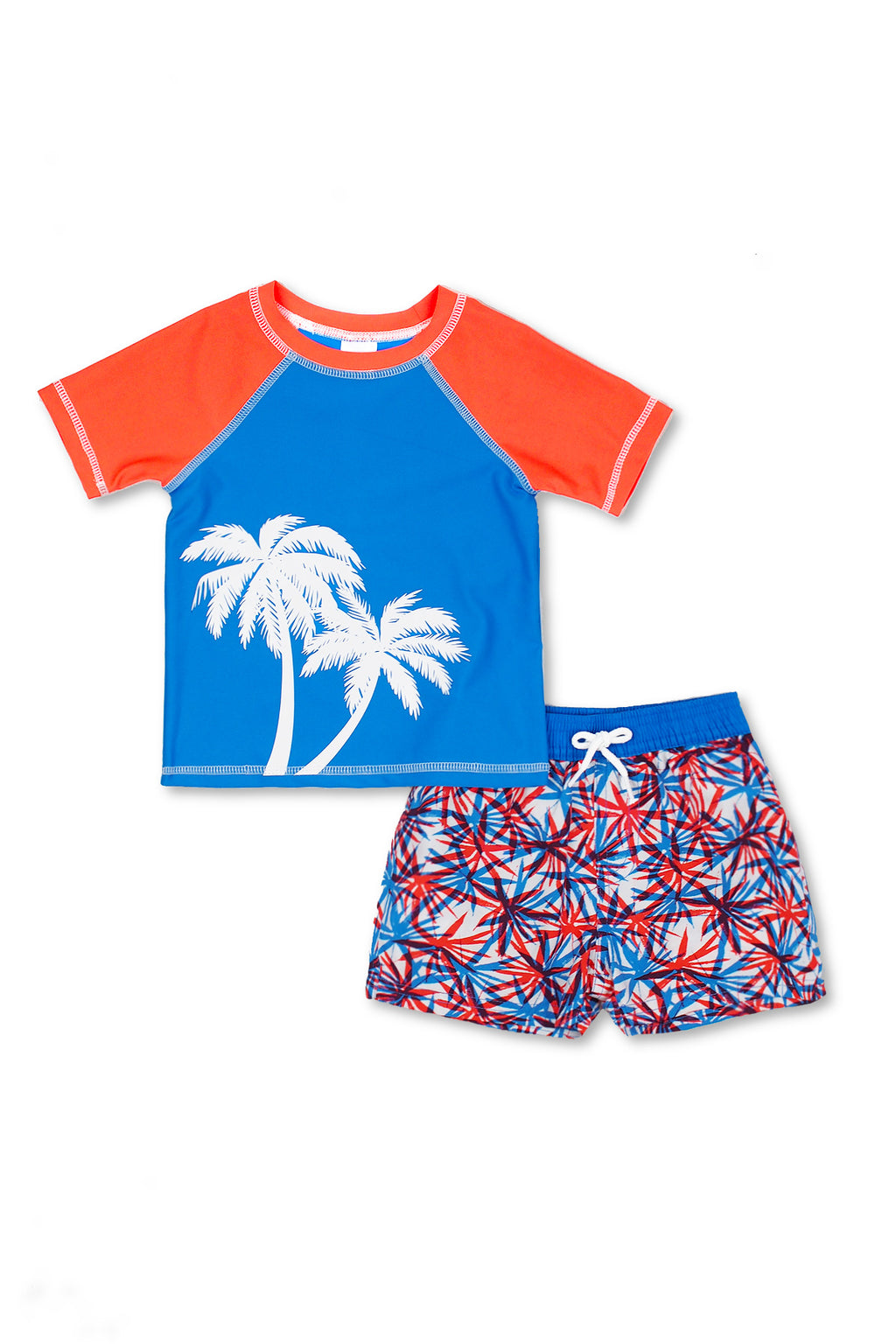 Boys Dragon Palm Short Sleeve Rash Guard Set, Blue