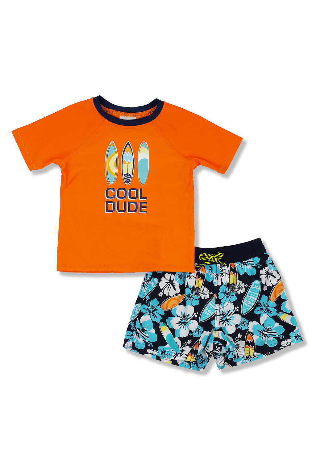 Boys Cool Dude Hibiscus Short Sleeve Rash Guard Set, Orange