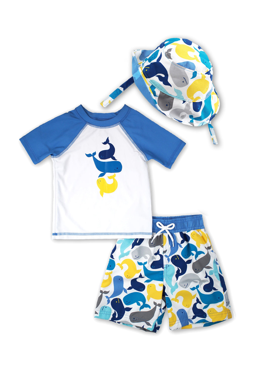 Boys Swimming Whale Short Sleeve Rash Guard & Swim Trunks With Bucket Hat 3pc Set, Slate Blue