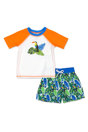 Boys Mosaic Toucan Short Sleeve Rash Guard & Swim Trunks Set, Orange