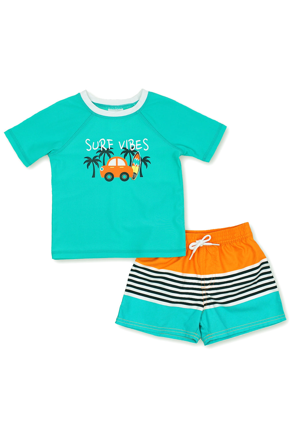 Boys Surf Vibes Color Block Short Sleeve Rash Guard Set, Turq