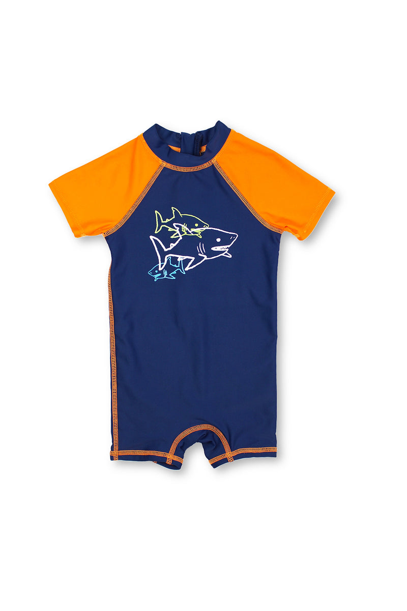 Boys Shark Outline Short Sleeve Half Zip One Piece Swim Sunsuit, Orange