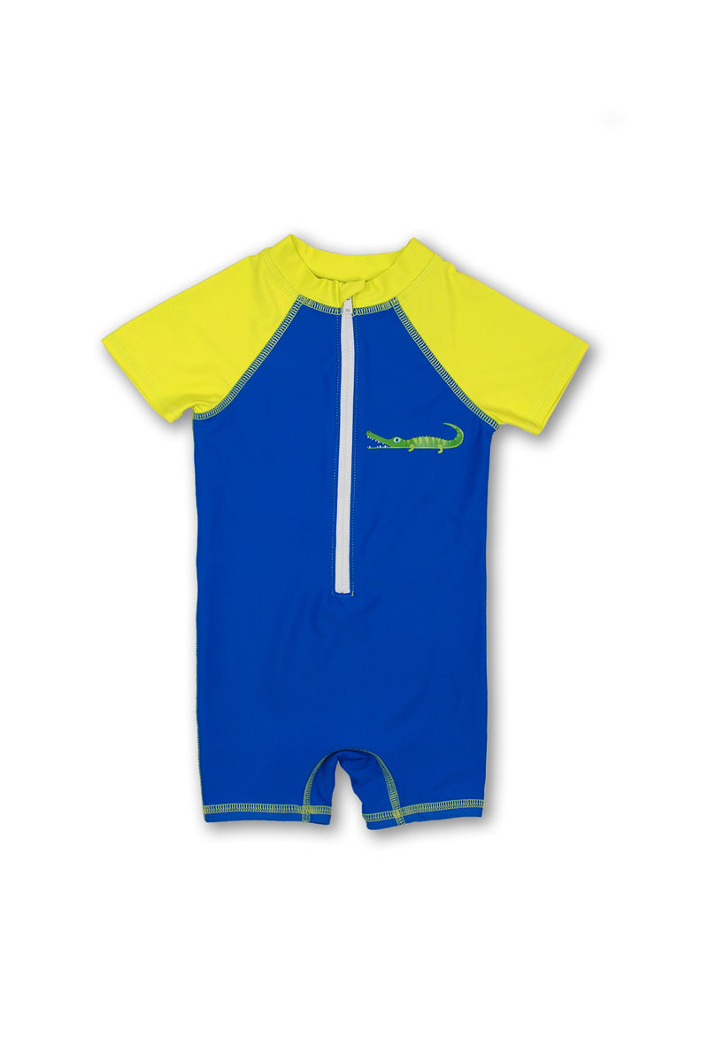 Boys Crocodile Short Sleeve Half Zip One Piece Swim Sunsuit, Blue