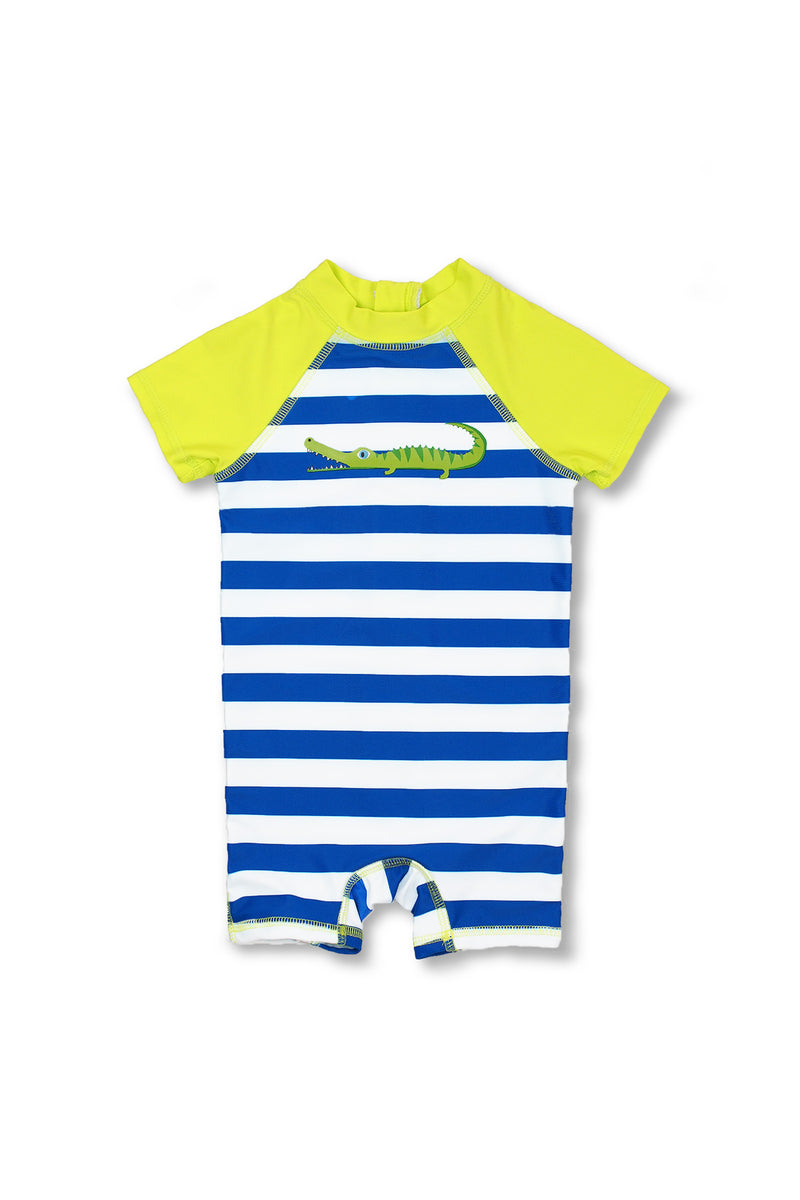 Boys Stripe Crocodile Short Sleeve Half Zip One Piece Swim Sunsuit, Lime