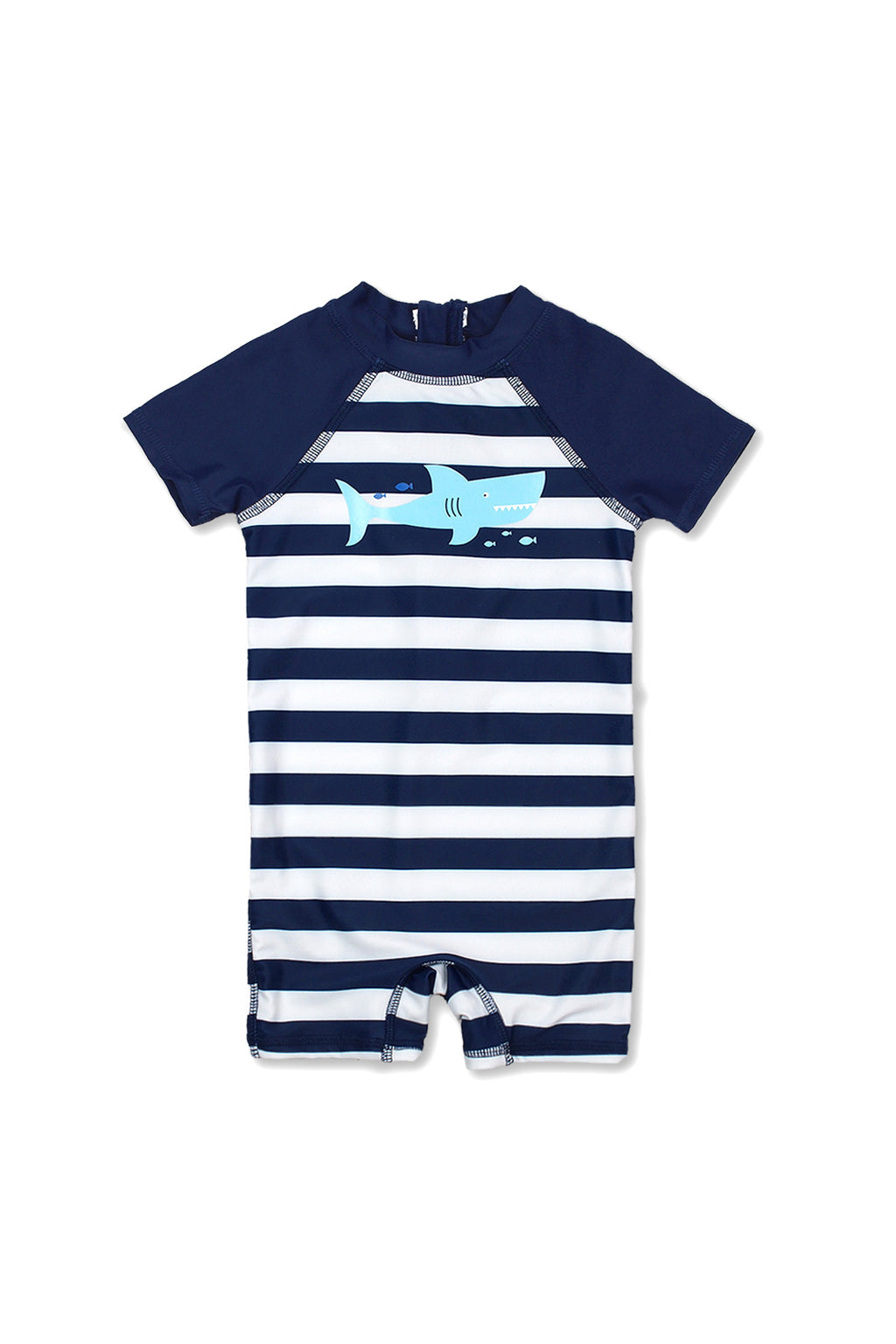 Boys Stripe Happy Shark Short Sleeve Half Zip One Piece Swim Sunsuit, Navy