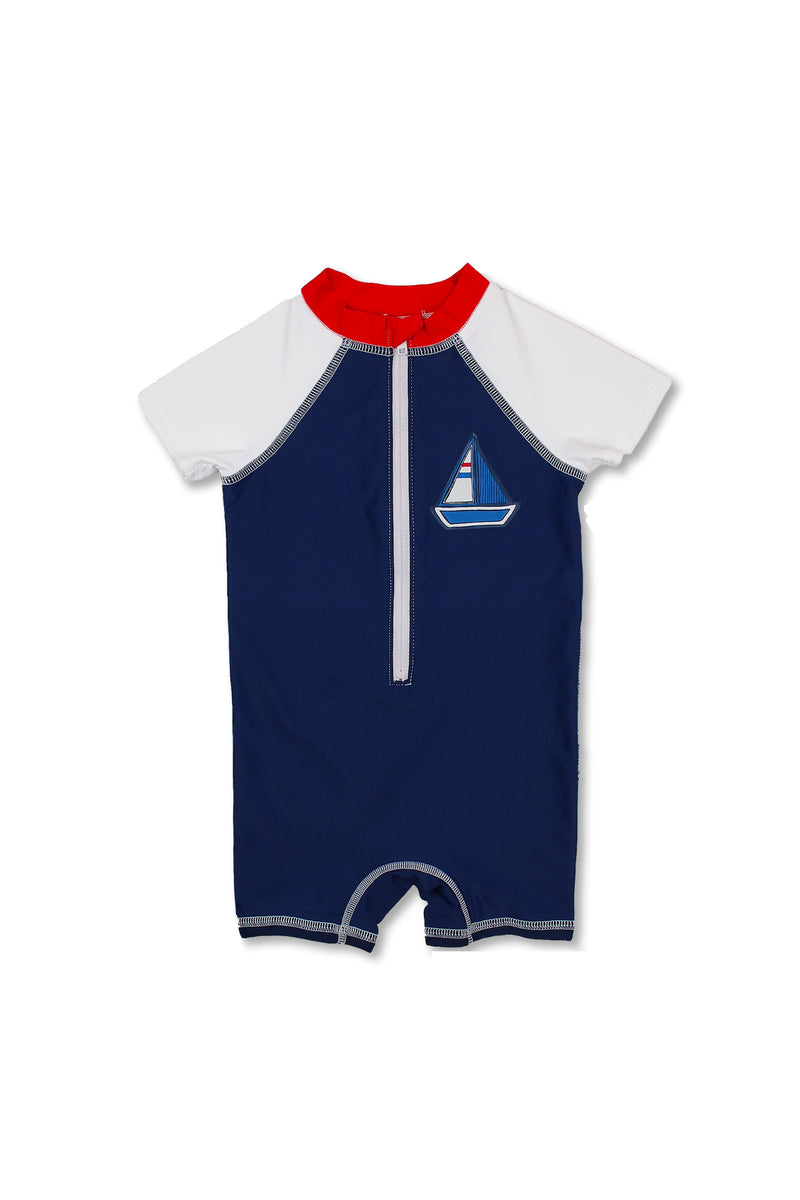 Boys Sailboat Short Sleeve Half Zip One Piece Swim Sunsuit, Navy