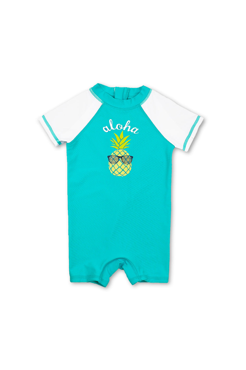 Boys Aloha Pineapple Short Sleeve Half Zip One Piece Swim Sunsuit, Blue