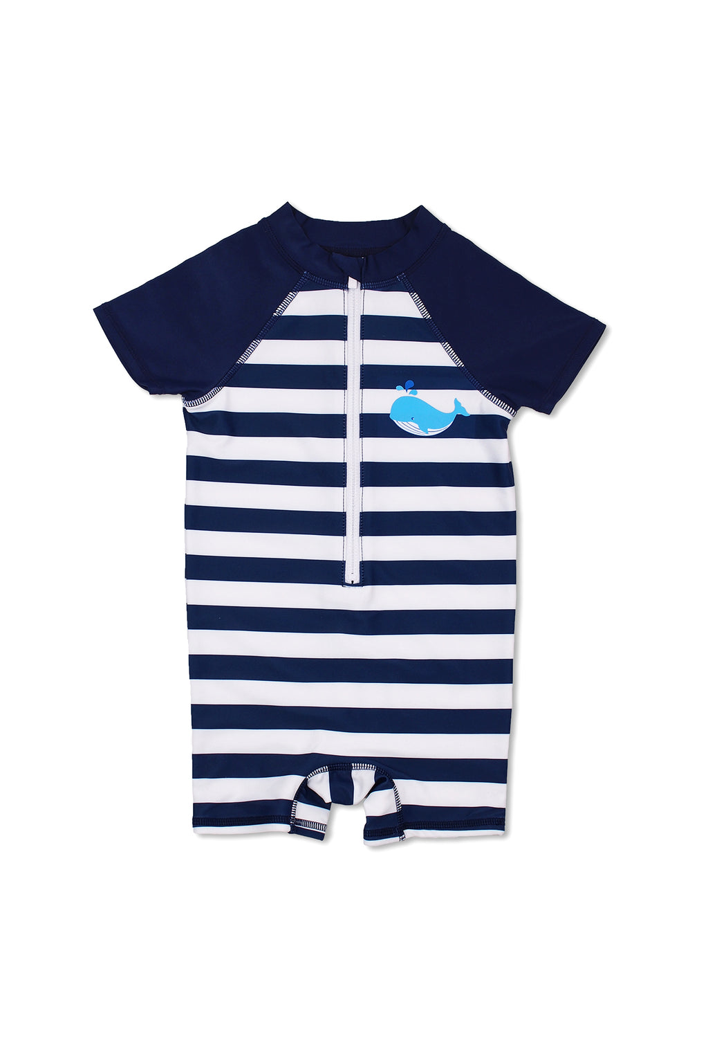 Boys Stripe Whale Short Sleeve Half Zip One Piece Swim Sunsuit, Navy