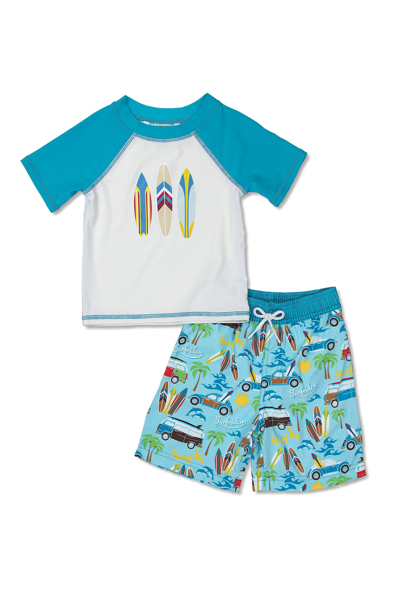 Boys Beach Van Short Sleeve Rash Guard Set, White