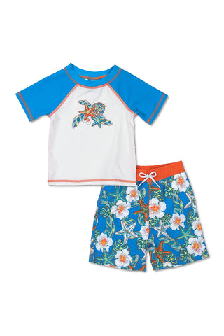 Boys Octopus Short Sleeve Rash Guard Set, white