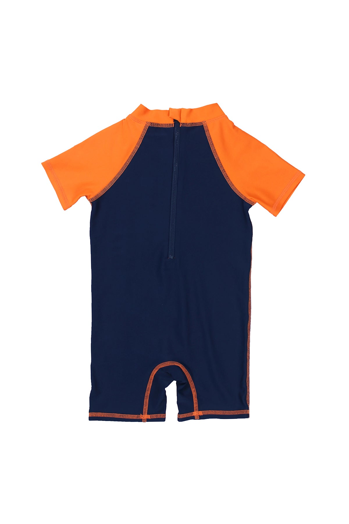 Boys Surfboard Short Sleeve Half Zip One Piece Swim Sunsuit, navy