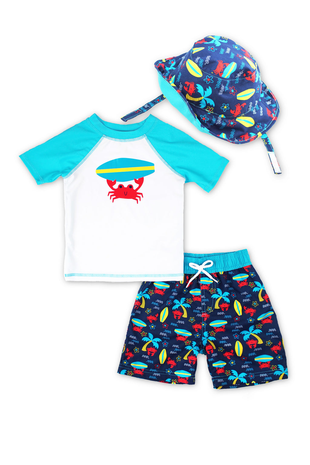 Boys Surfing Crab Short Sleeve Rash Guard & Swim Trunks With Bucket Hat 3pc Set, Turq