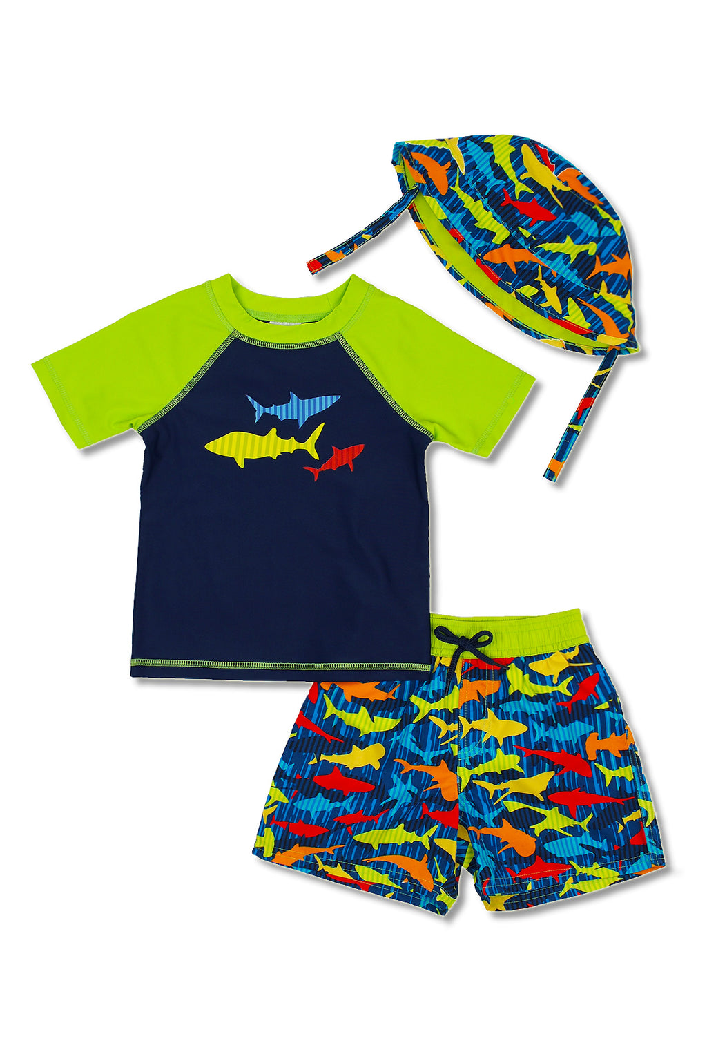 Boys Stripe Shark Short Sleeve Rash Guard & Swim Trunks With Bucket Hat 3pc Set, Lime