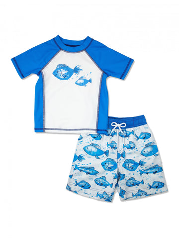 Boys Stripe Whale Short Sleeve Rash Guard & Swim Trunks Set, Blue