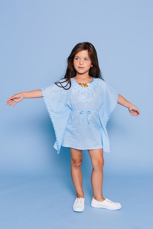 Embroidered V-neck Kaftan Cover-up, AQUA