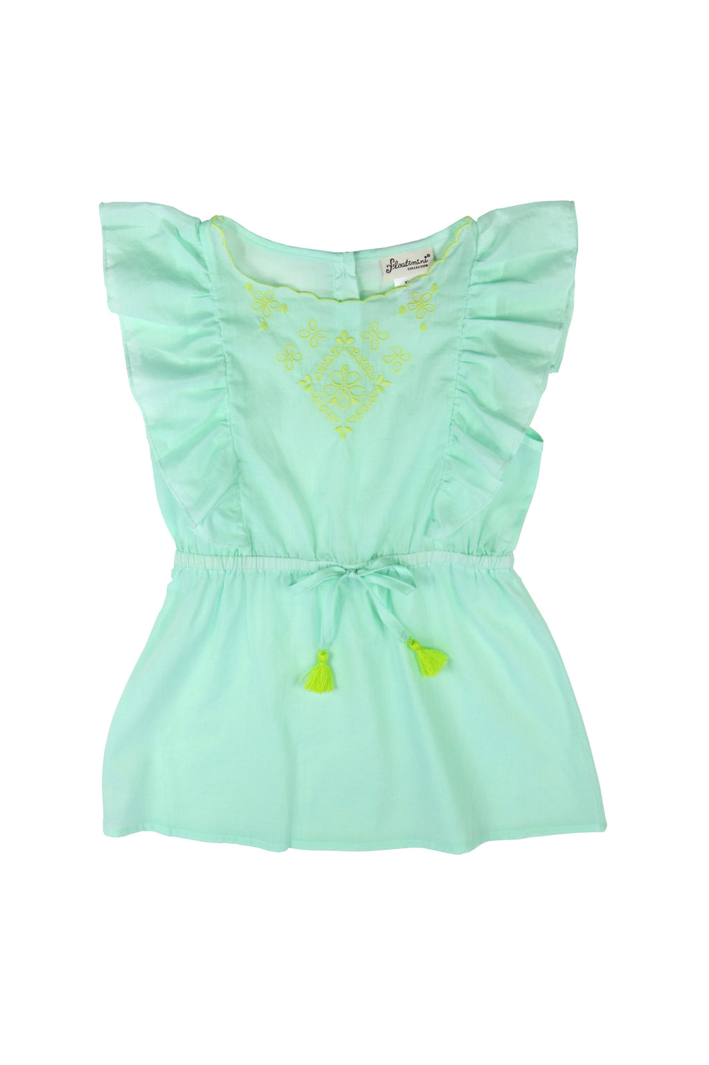 Embroidered Side Ruffle Cover-up Dress, mint
