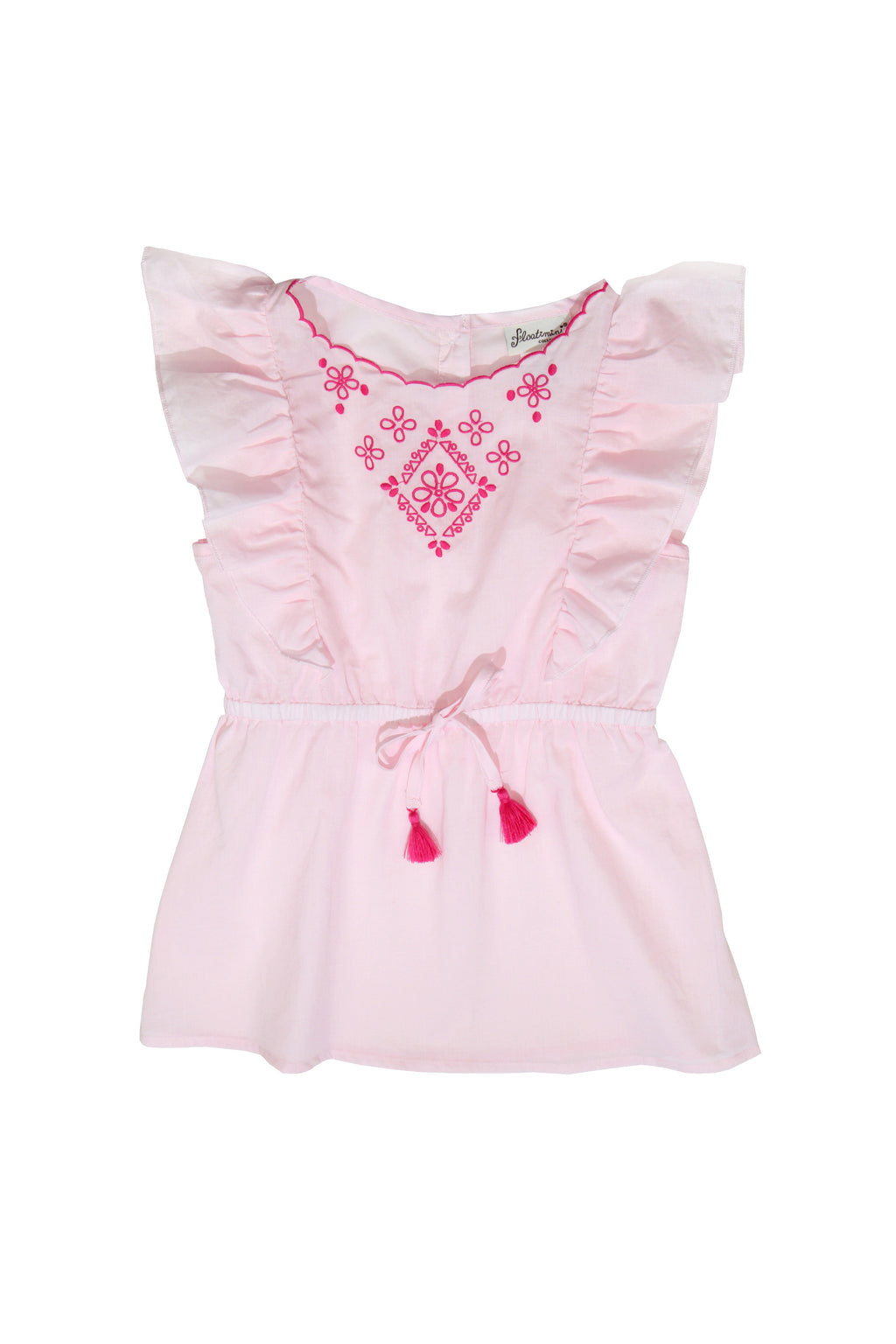 Embroidered Side Ruffle Cover-up Dress, pink