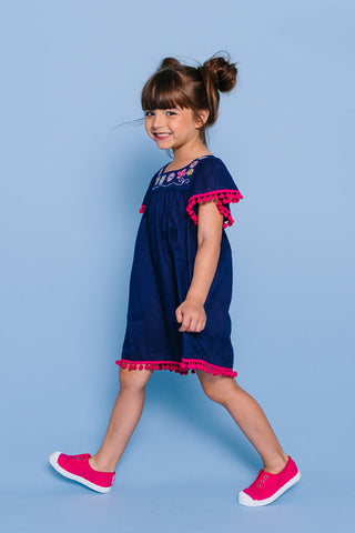 Embroidered Angel Sleeve Pompom Cover-up Dress, NAVY