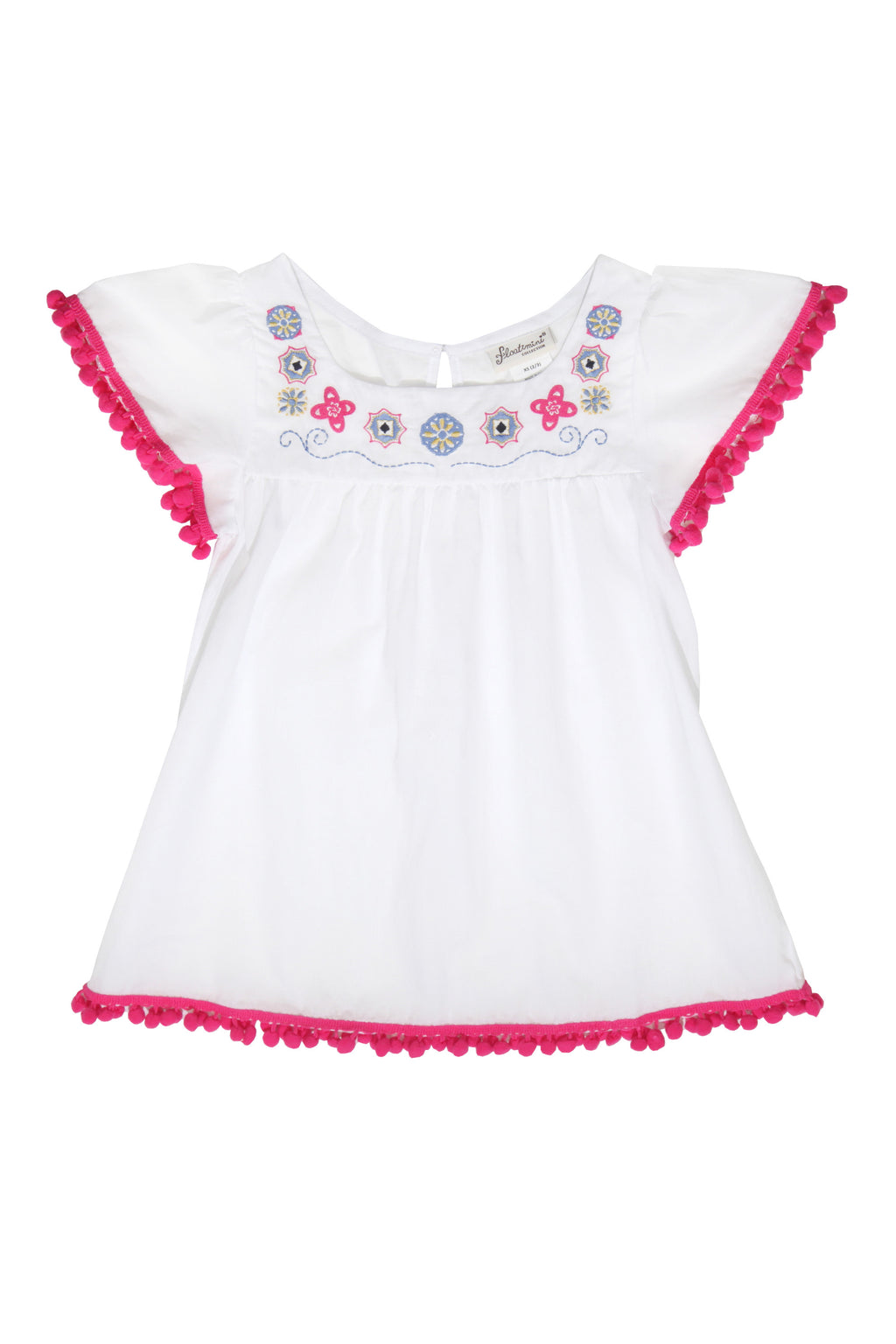 Embroidered Angel Sleeve Pompom Cover-up Dress, white
