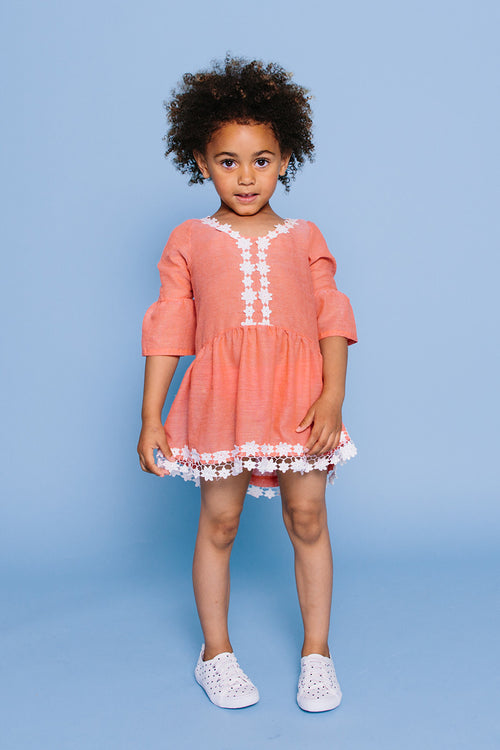 Bell Cuff Crochet Lace Cover-up Tunic, CORAL