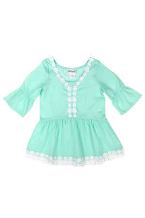 Bell Cuff Crochet Lace Cover-up Tunic, Seafoam