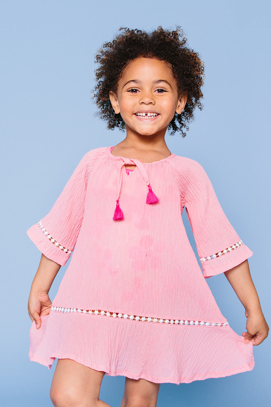Raglan Bell Sleeve Cover-up Tunic, pink
