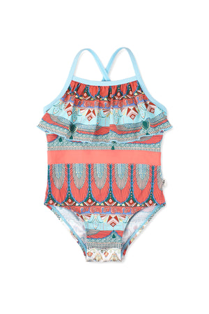 Egyptian Front Ruffle One-piece, Dusty Blue