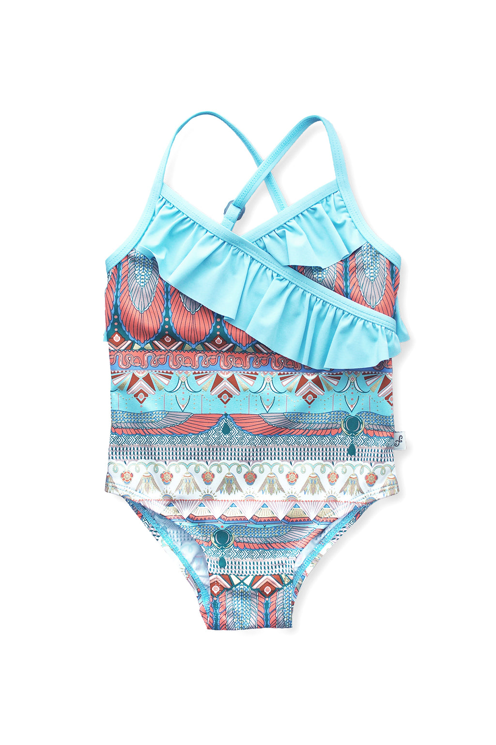 Egyptian Front Wrap One-piece, Dusty Blue