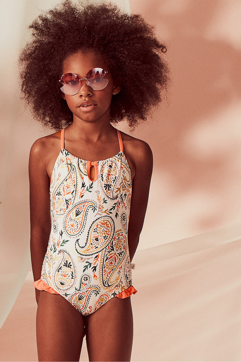 Golden Paisley Keyhole Neck One-piece, Coral