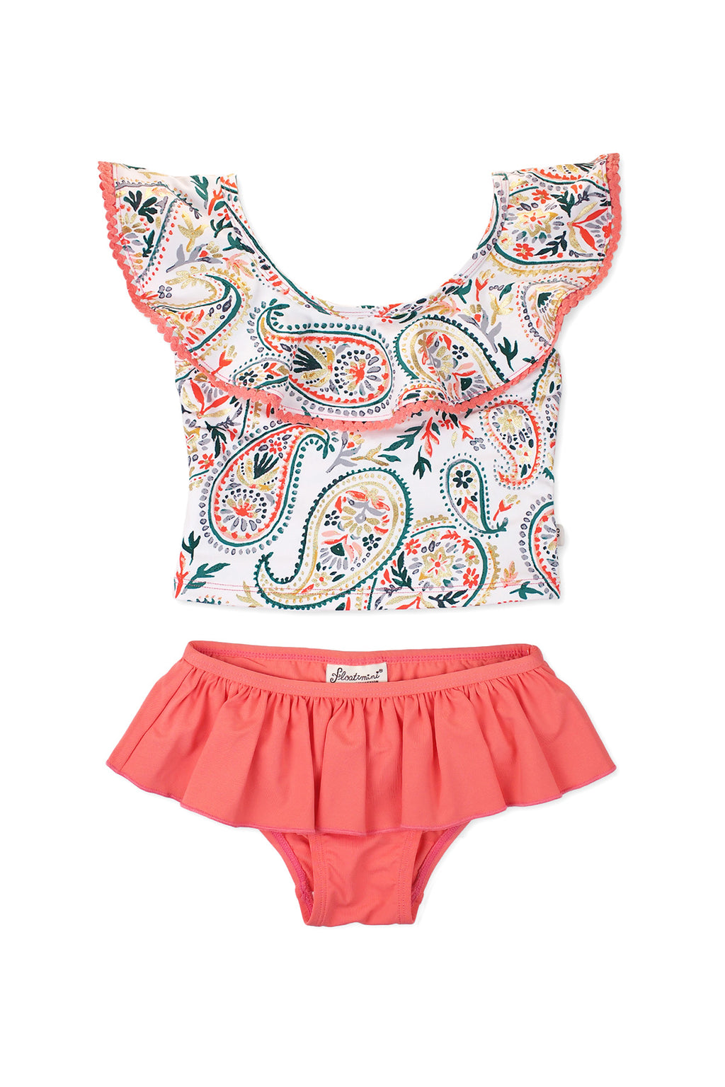 Golden Paisley Ruffle Neck Tankini Set, Coral