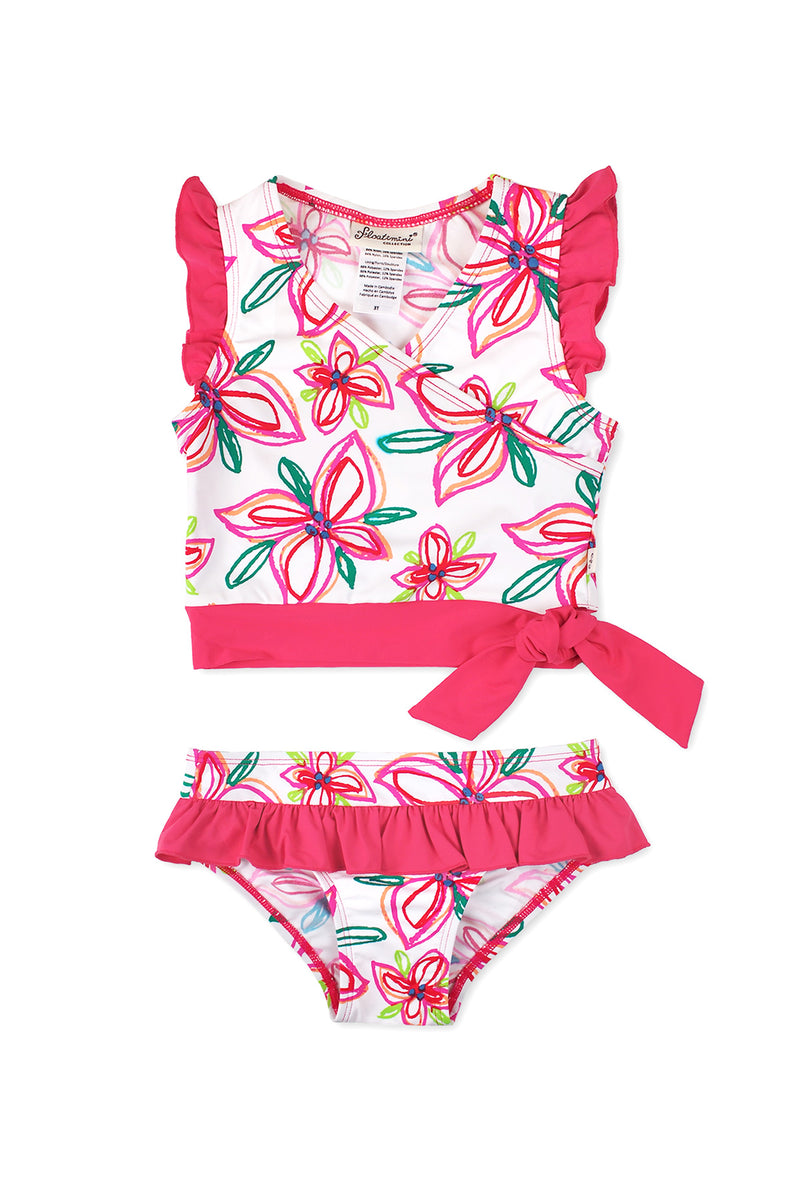 Crayon Flower Ruffled Sleeve Tankini Set, Pink