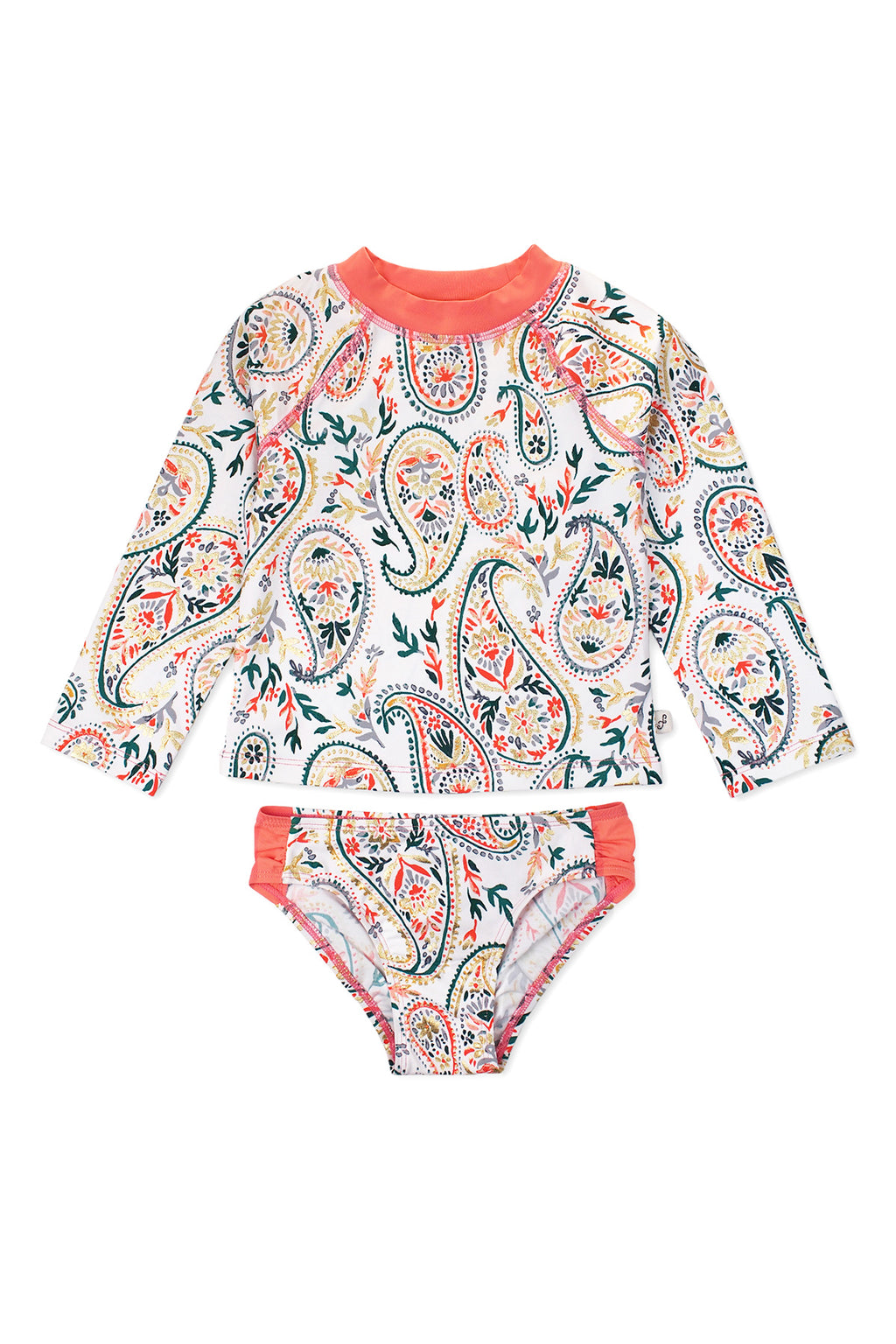 Golden Paisley Long Sleeve Rash Guard Set, Coral